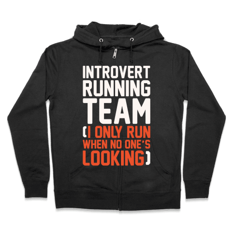 Introvert Running Team White Print Zip Hoodie