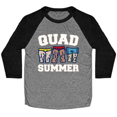 Quad Summer White Print Baseball Tee