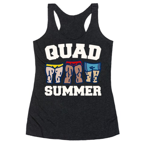Quad Summer White Print Racerback Tank Top