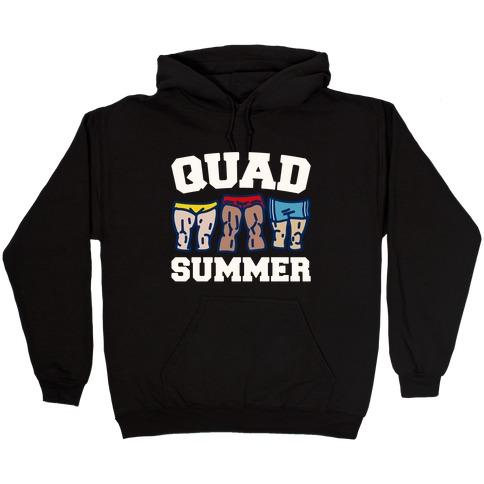 Quad Summer White Print Hooded Sweatshirt