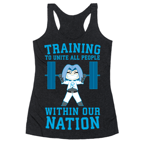 Training To Unite All People Within Our Nation Racerback Tank Top