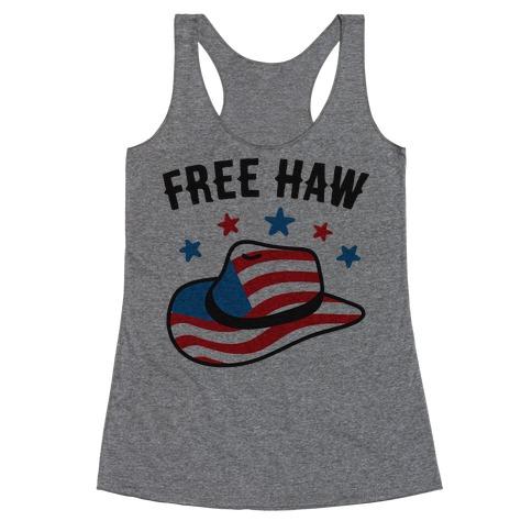 Free Haw Patriotic Cowboy Hat Racerback Tank Top