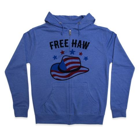 Free Haw Patriotic Cowboy Hat Zip Hoodie