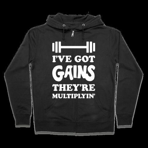 I've Got Gains They're Multiplyin' Grease Parody Zip Hoodie