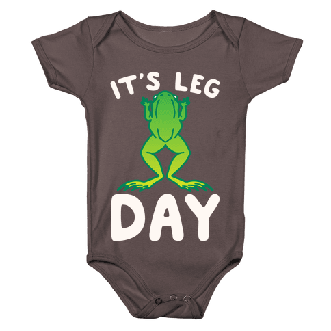 It's Leg Day Frog Parody White Print Baby One-Piece