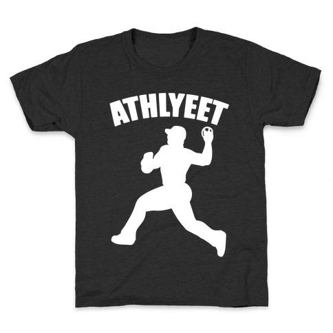 Athlyeet Baseball White Print Kids T-Shirt