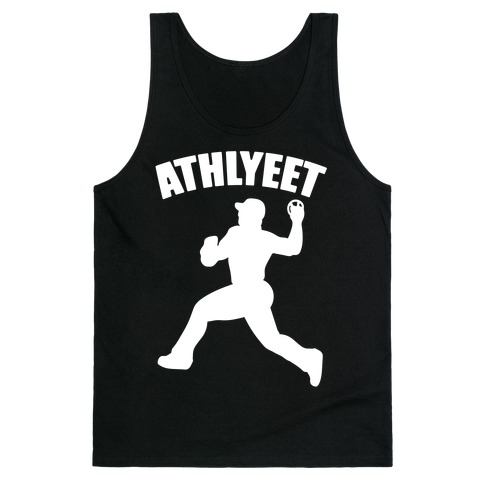 Athlyeet Baseball White Print Tank Top