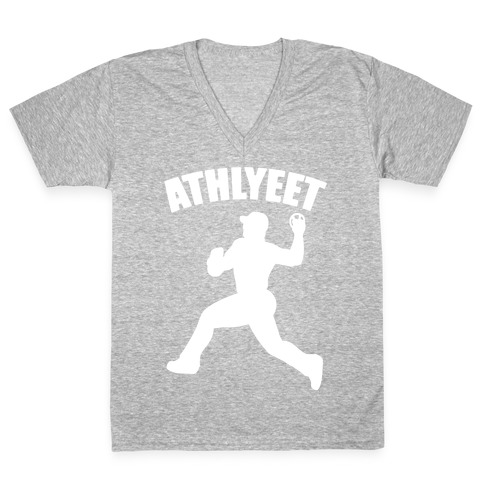 Athlyeet Baseball White Print V-Neck Tee Shirt