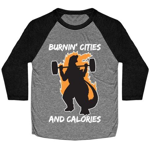 Burnin' Cities And Calories Kaiju Baseball Tee