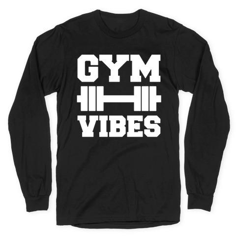 Gym Vibes White Print Long Sleeve T-Shirt