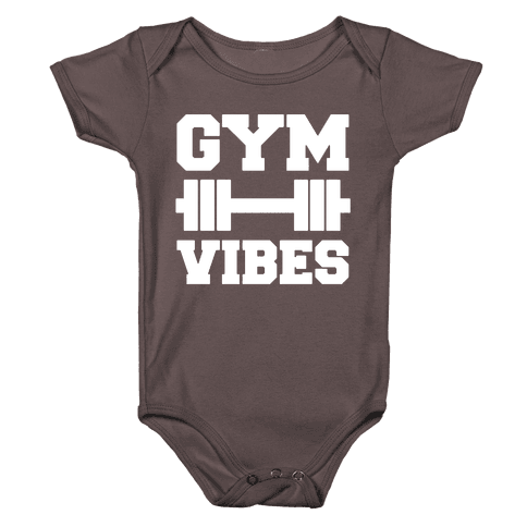 Gym Vibes White Print Baby One-Piece