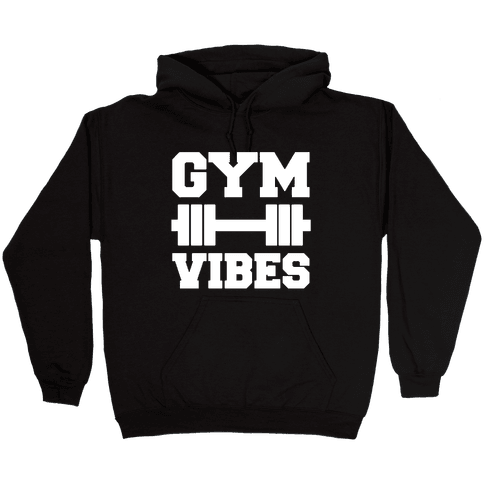 Gym Vibes White Print Hooded Sweatshirt