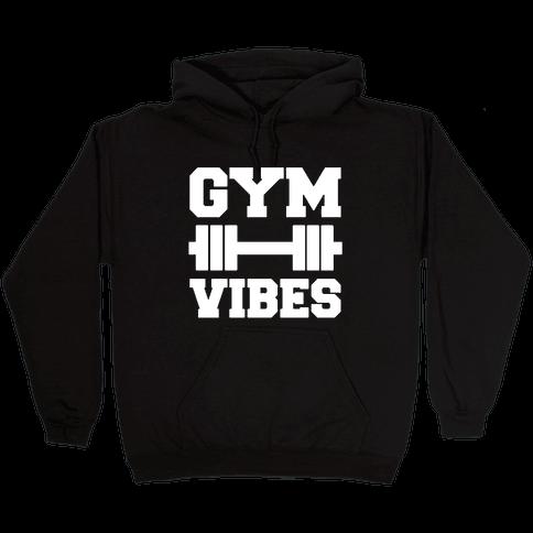 Gym Vibes White Print Hooded Sweatshirt