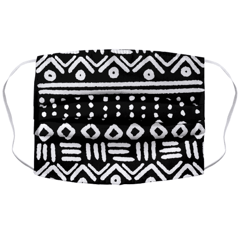 Abstract Geometric Black and White Boho Pattern Accordion Face Mask