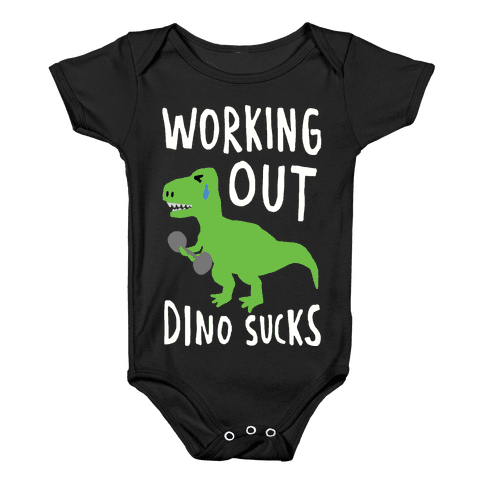 Working Out Dino Sucks Dinosaur Baby Onesy