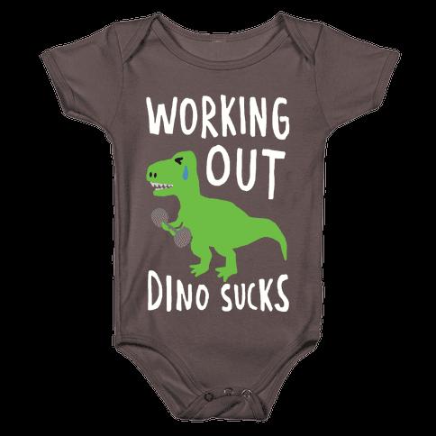 Working Out Dino Sucks Dinosaur Baby One-Piece