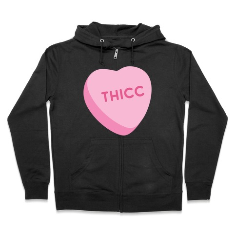 Thicc Candy Heart Zip Hoodie