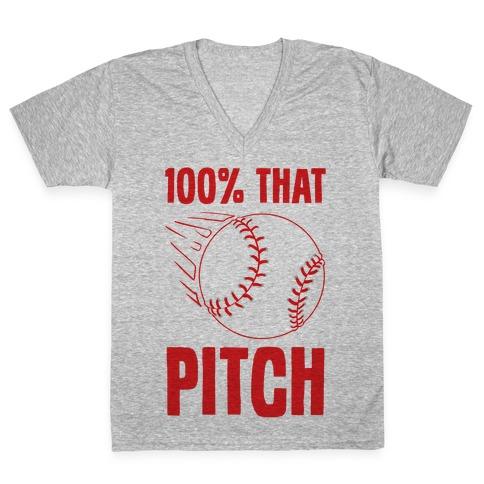 100% That Pitch V-Neck Tee Shirt
