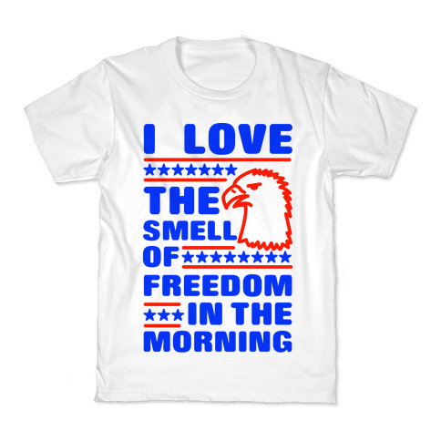 I Love The Smell Of Freedom Red and Blue Kids T-Shirt