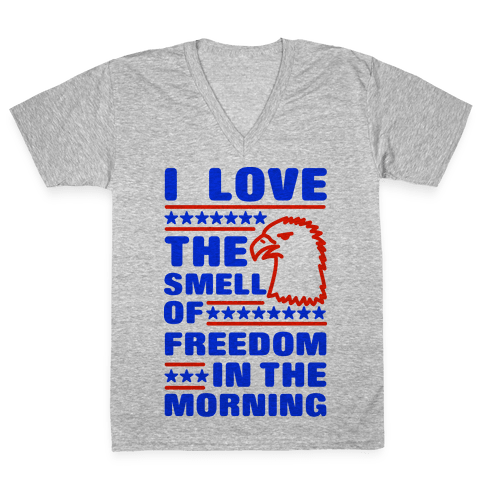 I Love The Smell Of Freedom Red and Blue V-Neck Tee Shirt