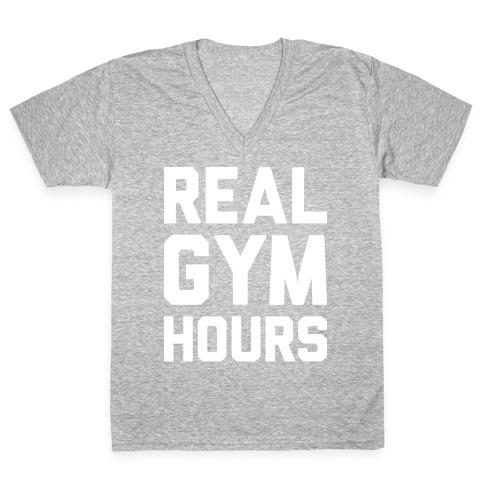 Real Gym Hours V-Neck Tee Shirt