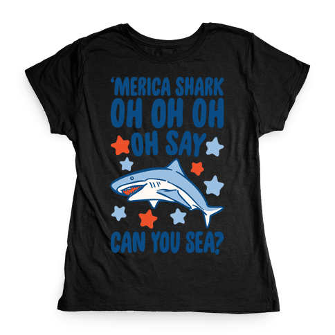 'Merica Shark Parody White Print Womens T-Shirt