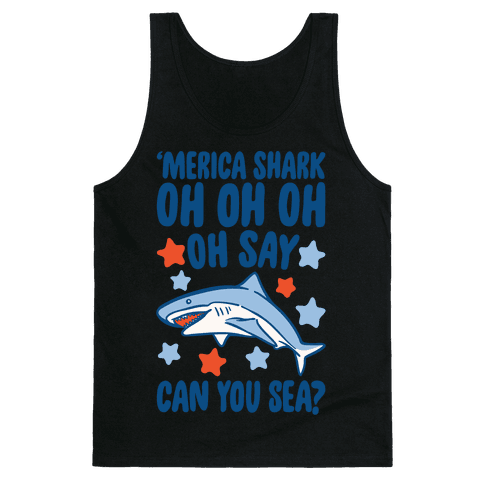 'Merica Shark Parody White Print Tank Top