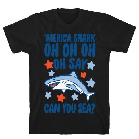 'Merica Shark Parody White Print T-Shirt