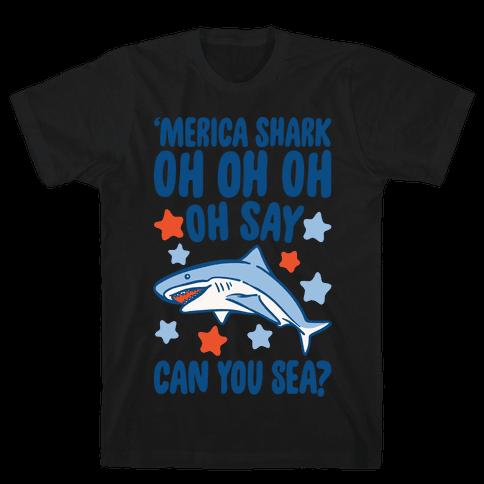 'Merica Shark Parody White Print Mens/Unisex T-Shirt