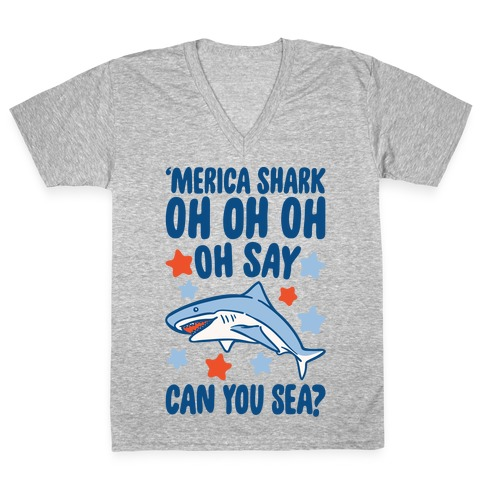 'Merica Shark Parody White Print V-Neck Tee Shirt