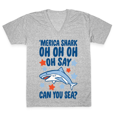 'Merica Shark Parody White Print V-Neck Tee Shirt