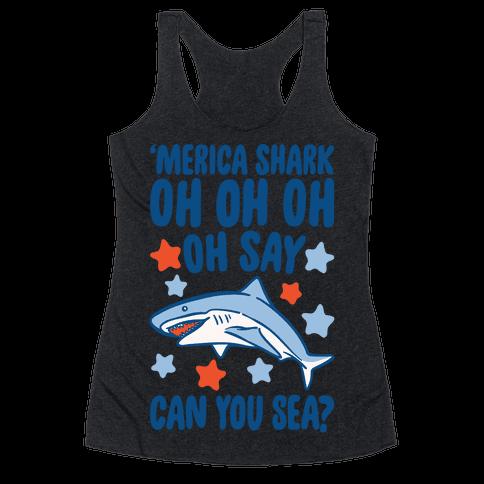 'Merica Shark Parody White Print Racerback Tank Top