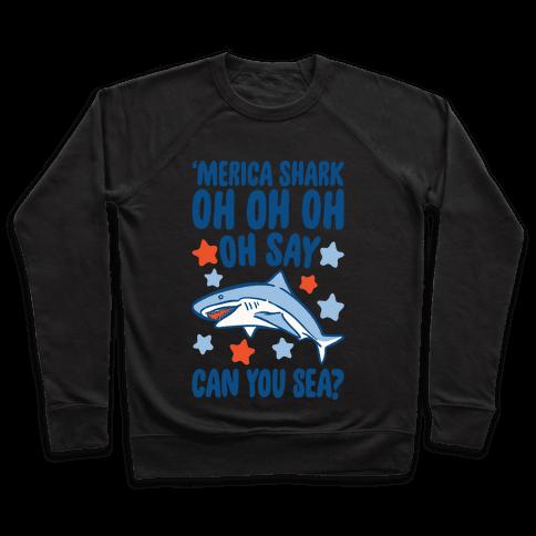 'Merica Shark Parody White Print Pullover