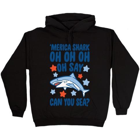 'Merica Shark Parody White Print Hooded Sweatshirt