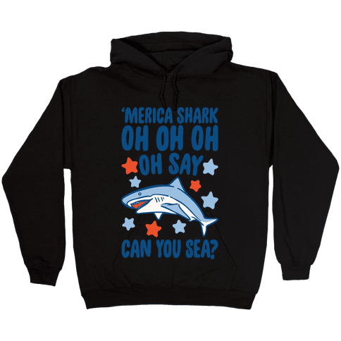 'Merica Shark Parody White Print Hooded Sweatshirt