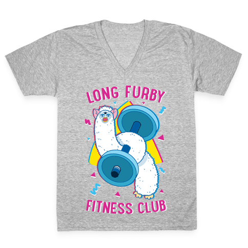 Long Furby Fitness Club V-Neck Tee Shirt