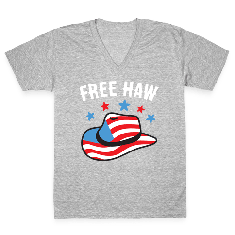 Free Haw Patriotic Cowboy Hat V-Neck Tee Shirt