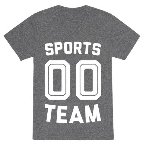 Sports 00 Team (White) V-Neck Tee Shirt