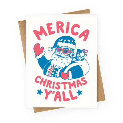 Merica Christmas Y'all Greeting Card