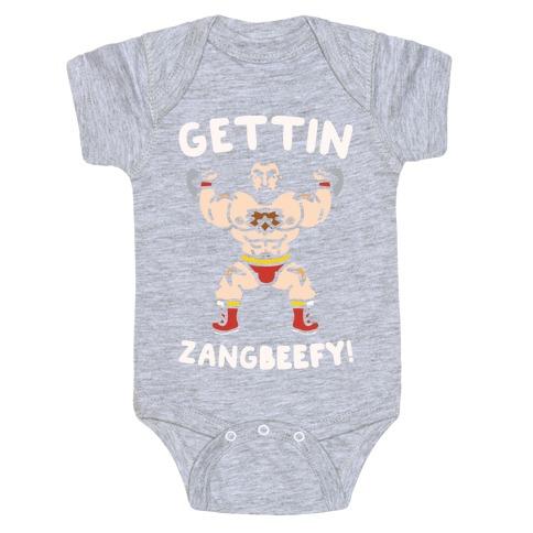 Gettin Zangbeefy Parody White Print Baby Onesy