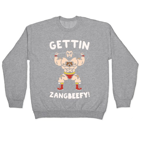 Gettin Zangbeefy Parody White Print Pullover