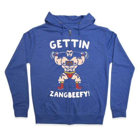 Gettin Zangbeefy Parody White Print Zip Hoodie