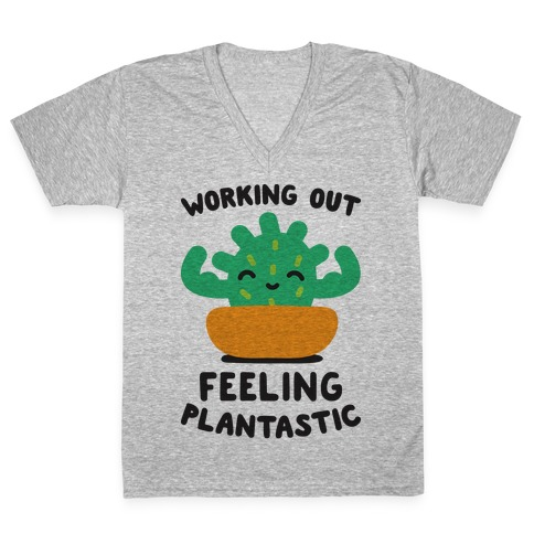 Working Out Feeling Plantastic V-Neck Tee Shirt