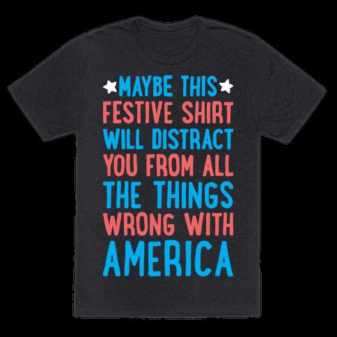 Festive American Distraction  Mens T-Shirt
