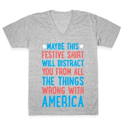 0aa0388363 Festive American Distraction V-Neck Tee | Merica Made