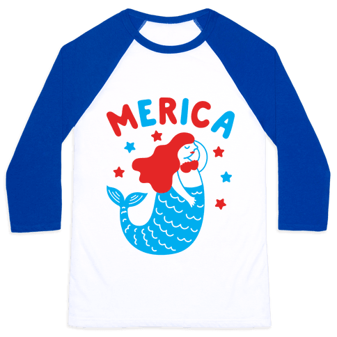Merica Mermaid Baseball Tee