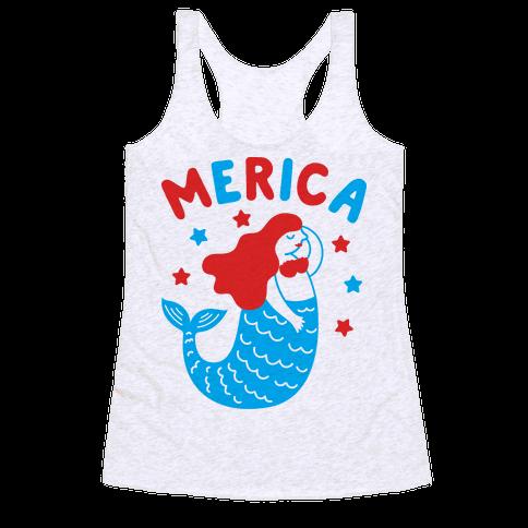 Merica Mermaid Racerback Tank Top