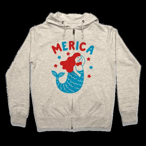 Merica Mermaid Zip Hoodie
