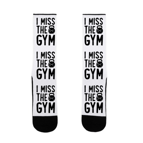 I Miss The Gym White Print Sock