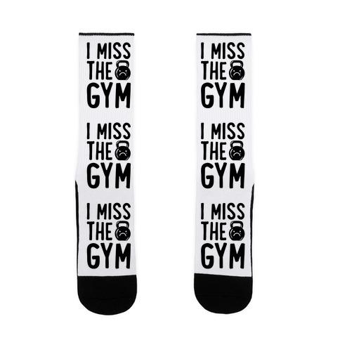 I Miss The Gym White Print Sock